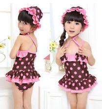 US Girls Kids Swimwear Swimsuit Bikini Baby Bathers Costume Swim+Swim Hat 2