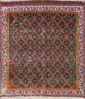 Vintage Geometric Tebriz Hand-knotted Area Rug Wool Oriental Carpet 2'x2' Square
