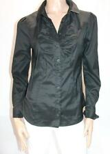 CUE Designer Black Gathered Front Long Sleeve Shirt Top Size 12-M BNWT #SR91
