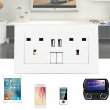 Double Wall Plug Socket 2 Gang 13A with 2 USB Charger Port Outlets UK AC Socket
