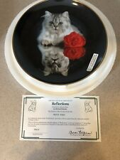 Reflections Plate Coming Up Roses Richard Stacks Danbury Mint Black Red Gray Cat