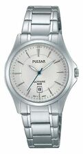 Pulsar Ladies Dress Watch Sapphire Crystal Glass Silver Tone Bezel & Date Window