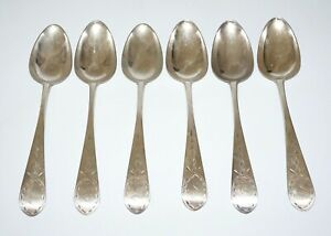 6Pc 1790s US Massachusetts 900 Coin Silver Large Spoons William Grigg (AkC) L14