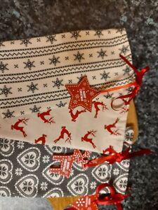 Three Small Handmade Reusable Christmas Gift Bags