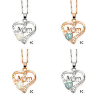 """Letter """"MOM"""" Heart-Shaped Pendant Necklace Mother's day&Birthday Gift Jewelry"""