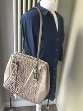 Large Coach New York Madison Gathered Pleated Leather Twist Nude Shoulder Bag
