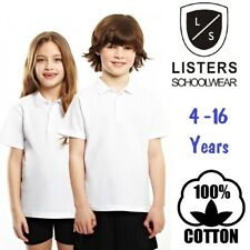 Boys Girls Polo Shirt 100% Cotton School Plain P.E Sports GYM Ages 3-16