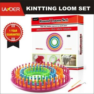 LAYOER Round Loom Set Plastic Knitting Looms with Weaving Circle Hook Needle