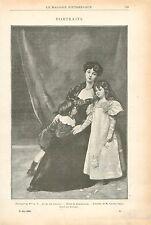 Mère et enfant par Carolus-Duran musée national de Tokyo GRAVURE OLD PRINT 1899