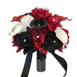 Artificial Calla lily Rose Bouquet -Apple Red Black and White Keepsake flowers