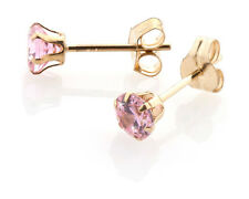 9ct gold 4mm pink CZ crystal studs / earrings / stud / earring. Gift box