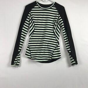 Lululemon Run Reflect Womens 6 Activewear Shirt Mint Green Black Striped