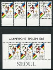 SURINAM 1988 Olympiade Olympics Seoul 1264-67 + Block 47 ** MNH