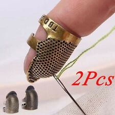 2PCS Retro Thimble Ring Finger Protector Handworking Needles Craft Sewing Tools