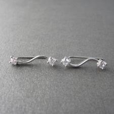 Boucles d'oreilles montantes ear-cuff barrette zirconium CZ et argent 925 BO229