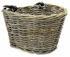 Handmade Traditional Wicker Rattan Bicycle Basket With Leather Straps Grey