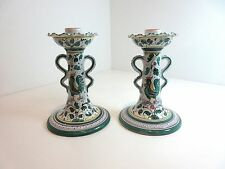 "PAIR Deruta Pottery GREEN ROOSTER Taper CANDLE STICKS 7 1/2""  Grazia Italy"