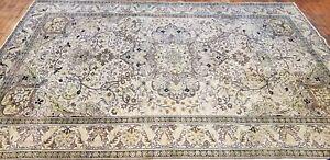 "Stunning Antique 1940's Wool Pile Muted Natural Dye Hereke Area Rug 6'5""×9'7"""