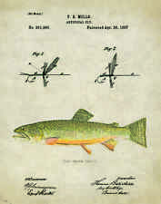 Fishing Lure Patent Poster Art Print Antique Trout Reels Fly Flies Fish PAT149