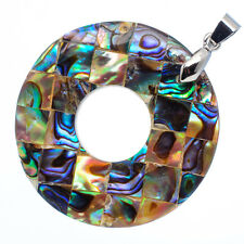 "Mother of Pearl Natural Abalone Sea Shell Round Pendant 1 5/8"" Jewelry #22-Z"