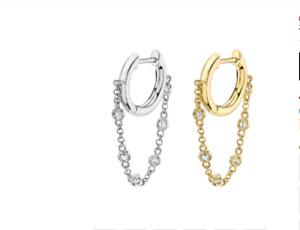 Single Huggie Chain Earring gold silver huggies hoop earrings CZ stacking helix