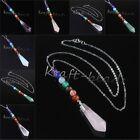 Natural Amethyst Quartz Crystal Hexagon Pendulum Healing Chakra Pendant Necklace