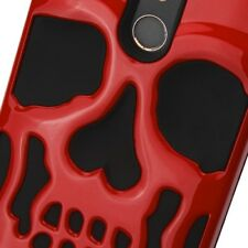 ZTE ZMAX PRO CARRY Z981 BLADE X MAX RED SKULLCAP HYBRID IMPACT CASE COVER