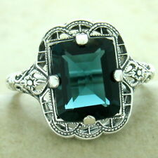 3 CT LONDON BLUE SIM TOPAZ 925 SILVER ART DECO ANTIQUE FINISH RING SIZE 9, #1175