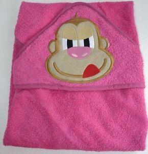 Baby Hooded Bath towel PINK MONKEY