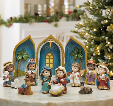 More details for brand new baby nativity table top ornament set with 12 pieces