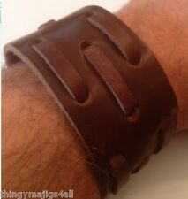 GENUINE LEATHER BROWN WRISTBAND WRIST STRAP CUFF BRACELET MENS STEAMPUNK A25