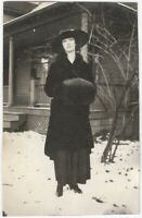 Young Woman in Black Coat & Fur Muff 1910s Vintage Fashion Snapshot