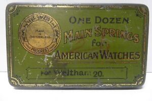 VINTAGE WALTHAM WATCH COMPANY TIN  PARTS - MAIN SPRINGS AMERICAN WATCHES