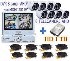 """KIT VIDEOSORVEGLIANZA AHD DVR 8 CANALI MONITOR 10""""+ 8 TELECAMERE 1.0mp + HD 1TB"""