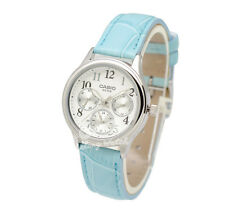 -Casio LTPE306L-7B Ladies' Leather Fashion Watch Brand New & 100% Authentic