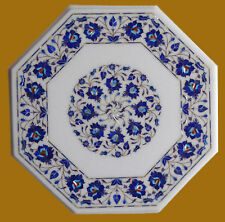 "18"" Coffee Table Top Semi Precious Stone Lapis Handmade Inlay Work Home Decor"