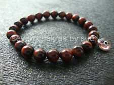 Feng Shui - 8mm Red Tiger Eye + Pink Sterling Silver Evil Eye