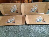 Set of 4 Vintage Coronet Haskelite MFG Corp Geese Trays
