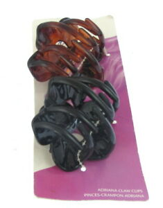 PAIR LADIES 6cm ONE BROWN AND ONE BLACK FAT Claw Ponytail Holder Clamp UK oa