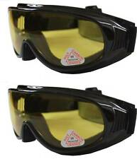 2 prs Andevan™ yellow Motor / Biking Goggle cover over Rx glass night driving