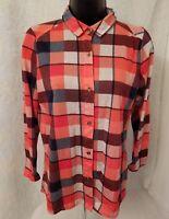 Signature Studio Womens Red White Blue Plaid Button Down Shirt Top Blouse Size S