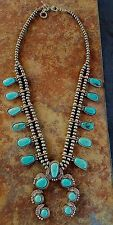 COWGIRL Gypsy  Bling SQUASH BLOSSOM Turquoise Southwestern NECKLACE