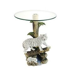 OK LIGHTING OK-0732N White Tiger End Table With Glass Top Multicolor NEW