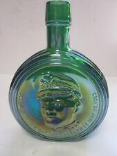 VINTAGE WHEATON GREEN CARNIVAL GLASS BOTTLE 1ST EDITION DWIGHT IKE EISENHOWER