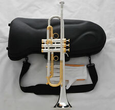 Professional Silver Plated Trumpet Bb Monel Valve Gold Plated Valve Cup New Case