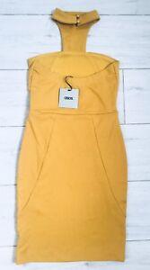 ASOS MUSTARD HIGH NECK / CHOKER BODYCON DRESS 8 BNWT