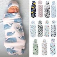 Newborn Baby Infant Hooded Swaddle Wrap Swaddling Blanket Sleeping Bag Floral