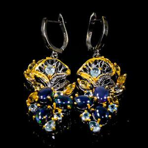 Fashion Art Earrings Black Opal Earrings Silver 925 Sterling   /E57544