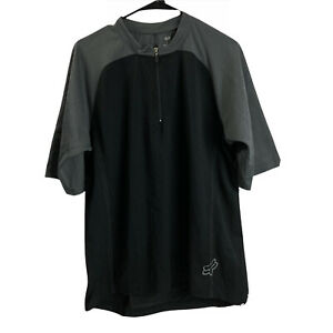 Fox Racing Mens 1/4 Zip Pullover Short Sleeve Shirt L Large Grey Motorcross