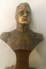 VINTAGE BRONZE BUST OF SOLDIER STAR ON EPAULETTES ONYX BASE GOOD CONDITION